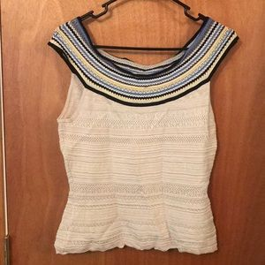 WHBM Sleevless Sweater Tanktop with Color collar